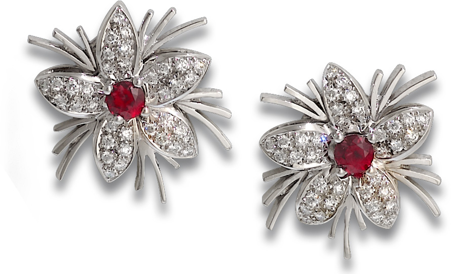 Jasmin de Nuit Ruby & Diamond Earrings