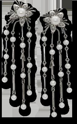 Jasmin de Nuit Cultured Pearl and Diamond Earrings