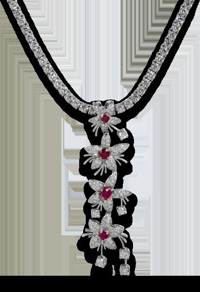 Ruby Pendant on Diamond Necklace