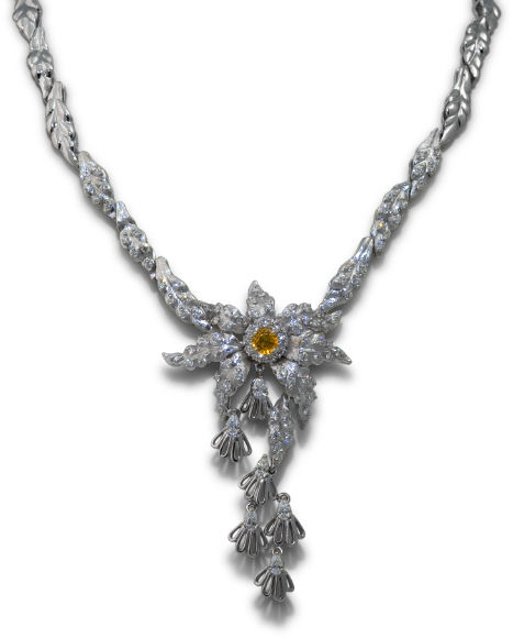 Yellow Sapphire and Diamond Necklace