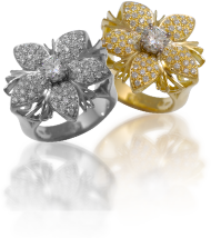18K White and Yellow Diamond Rings from the Jasmine Collection