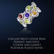 Cascade Multi Gemstone Ring with Platinum Plating