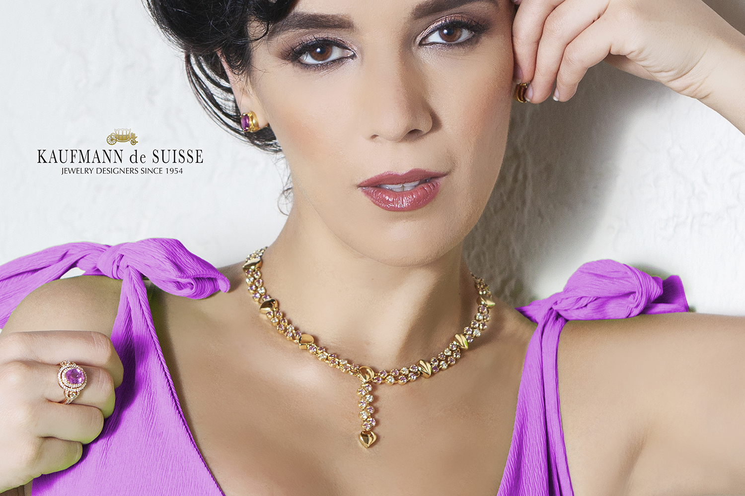 Flowing Lines Pink Sapphire and Diamond Necklace