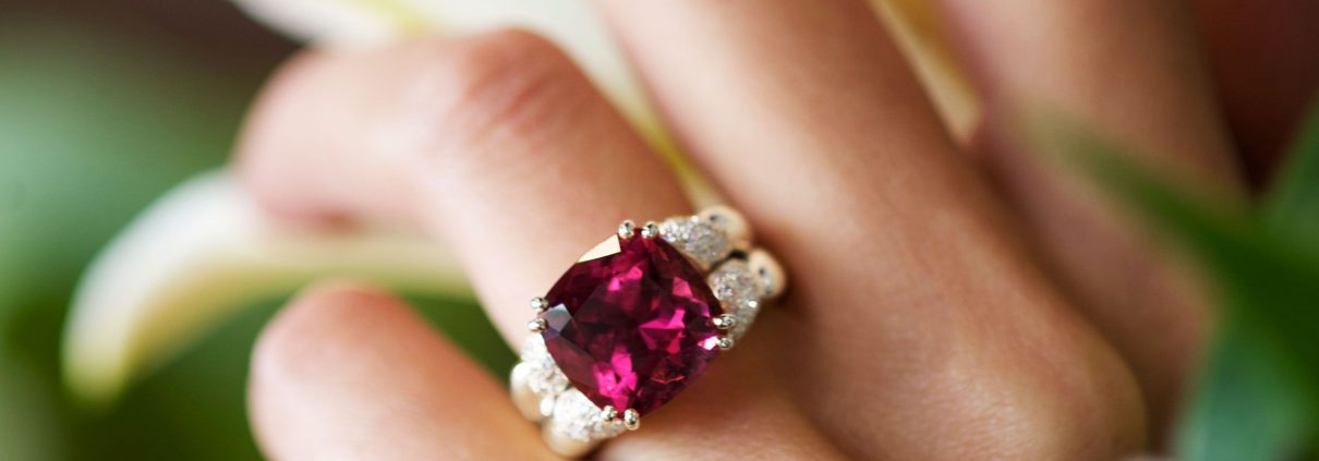 Fabulous Rubellite and Diamond Ring