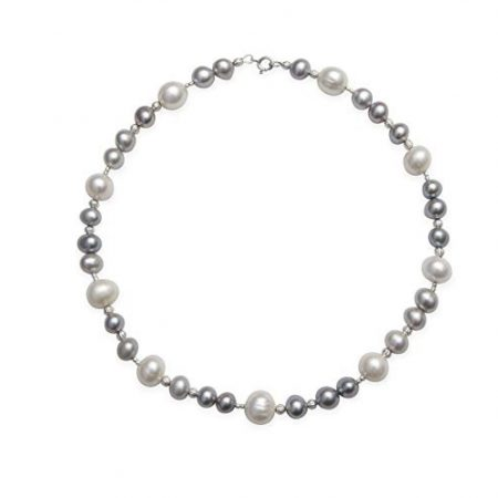 Kaufmann De Suisse Freshwater Grey and White Pearl Necklace Choker