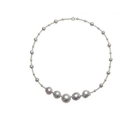 Kaufmann De Suisse Freshwater Pearl Necklace with 5 in a Row Baroque Pearls