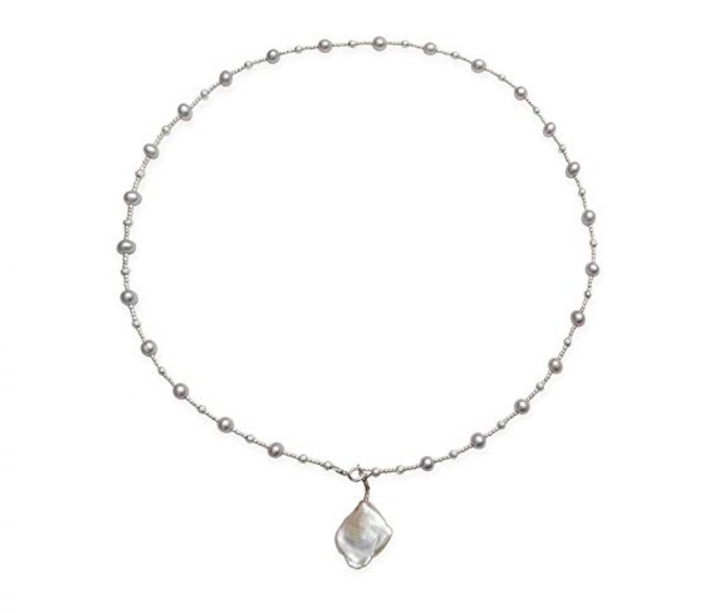 Freshwater Cultured Pearl Necklace with 1 Larger Keshi Drop Pearl