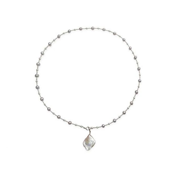 Kaufmann De Suisse Freshwater Pearl Necklace with 1 Drop Keshi Pearl