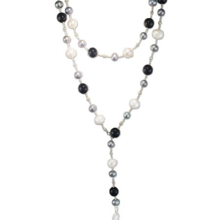 Freshwater White Pearl and Black Onyx Bead Lariat Necklace
