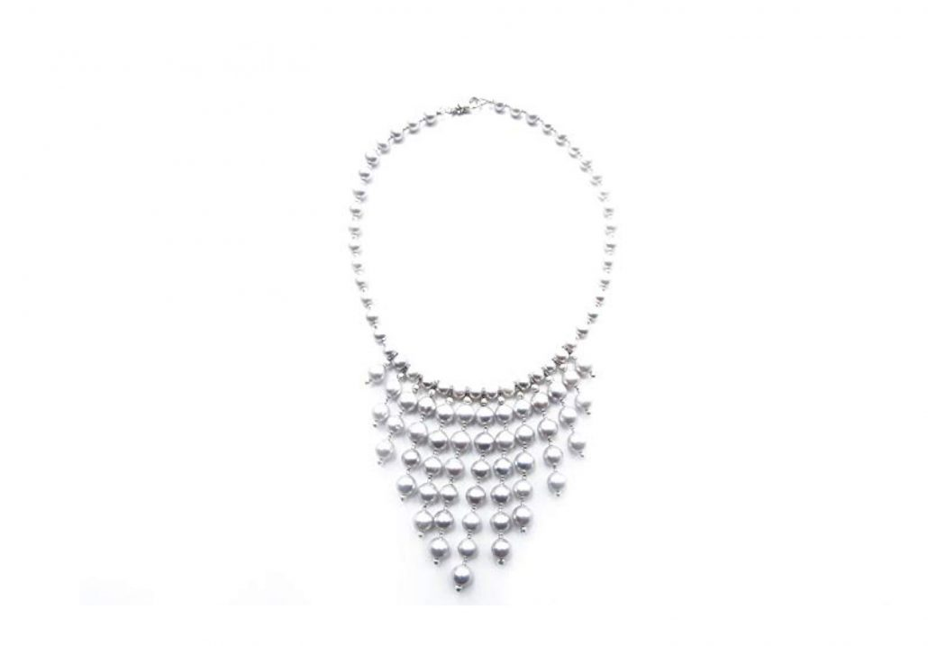 """Freshwater Grey Pearl Bib Necklace with 13 Graduating in Length Dropping Pearls Features 46 Handpicked Grey Pearls Measuring 6.5-7mm Each and 49 Grey Pearls Measuring 8-9mm Each Beautifully Spaced with Sterling Silver Diamond Cut Beads Necklace is 16"""" in Length and Includes a Certificate of Guarantee"""