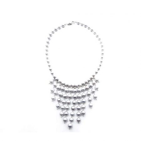 "Freshwater Grey Pearl Bib Necklace with 13 Graduating in Length Dropping Pearls Features 46 Handpicked Grey Pearls Measuring 6.5-7mm Each and 49 Grey Pearls Measuring 8-9mm Each Beautifully Spaced with Sterling Silver Diamond Cut Beads Necklace is 16"" in Length and Includes a Certificate of Guarantee"