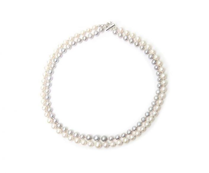 Freshwater Grey and White Pearl Double Strand
