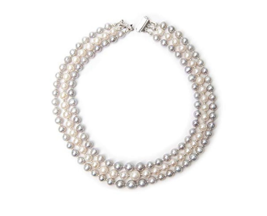Freshwater Grey and White Triple Strand Pearl Necklace