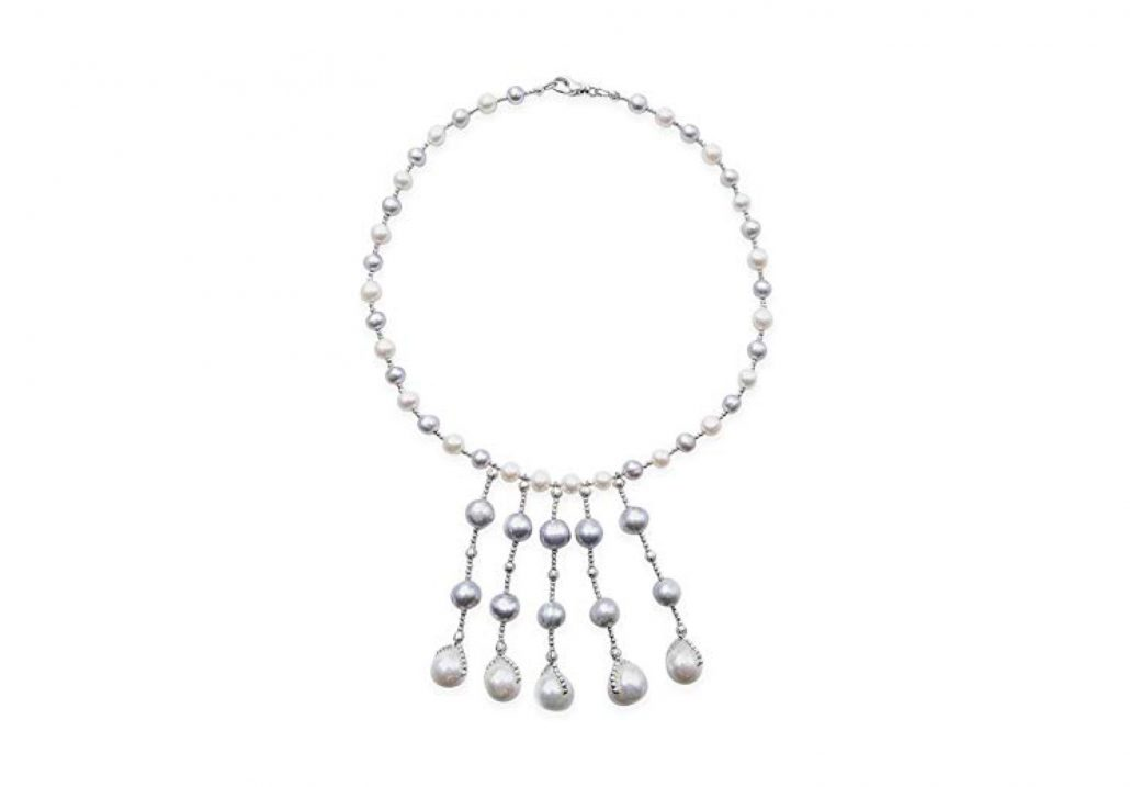Freshwater White and Grey Pearl Necklace with 5 Drops