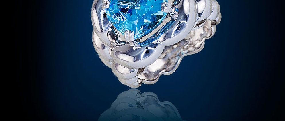 Flowing Lines Blue Topaz Ring