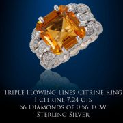 Triple Flowing Lines Citrine Ring