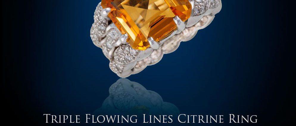 Triple Flowing Lines Citrine Ring