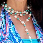 The Palm Beach Lariat in Turquoise and Gray Pearls