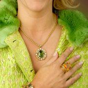 18K Gold Peridot and Diamond Necklace