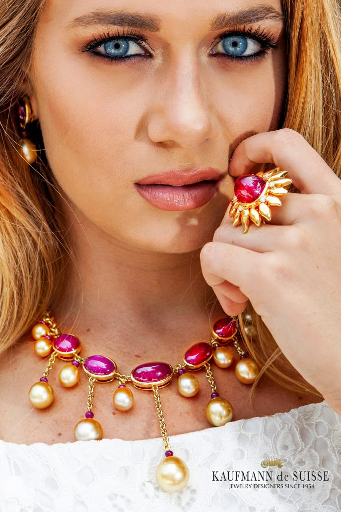 Chic Cabochon Ruby Necklace