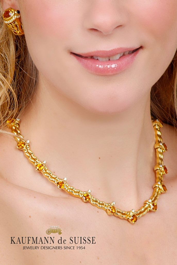 Flowing Lines 18K Gold and Citrine Jewelry