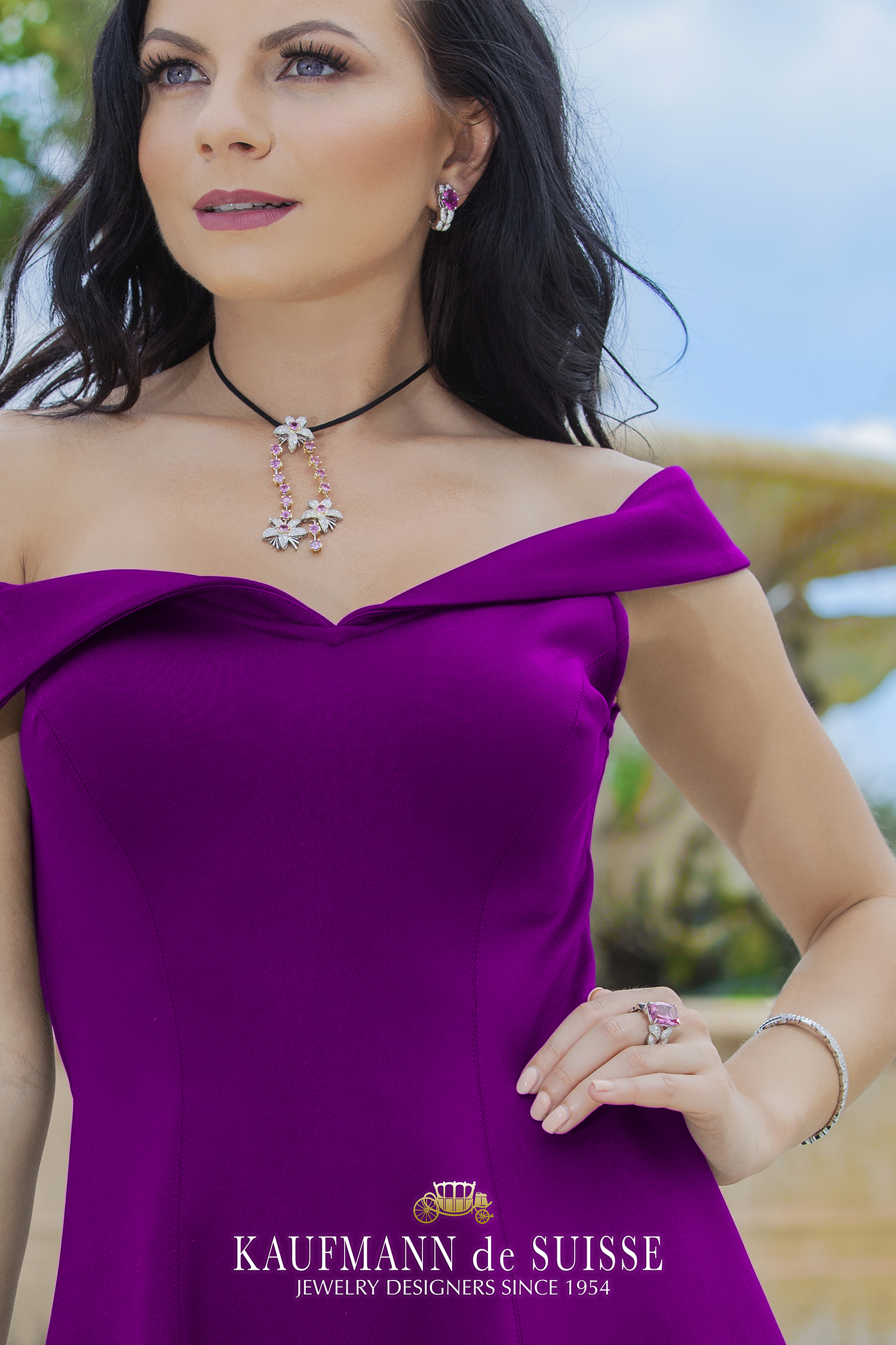 18K Gold Diamond and Pink Sapphire Necklace