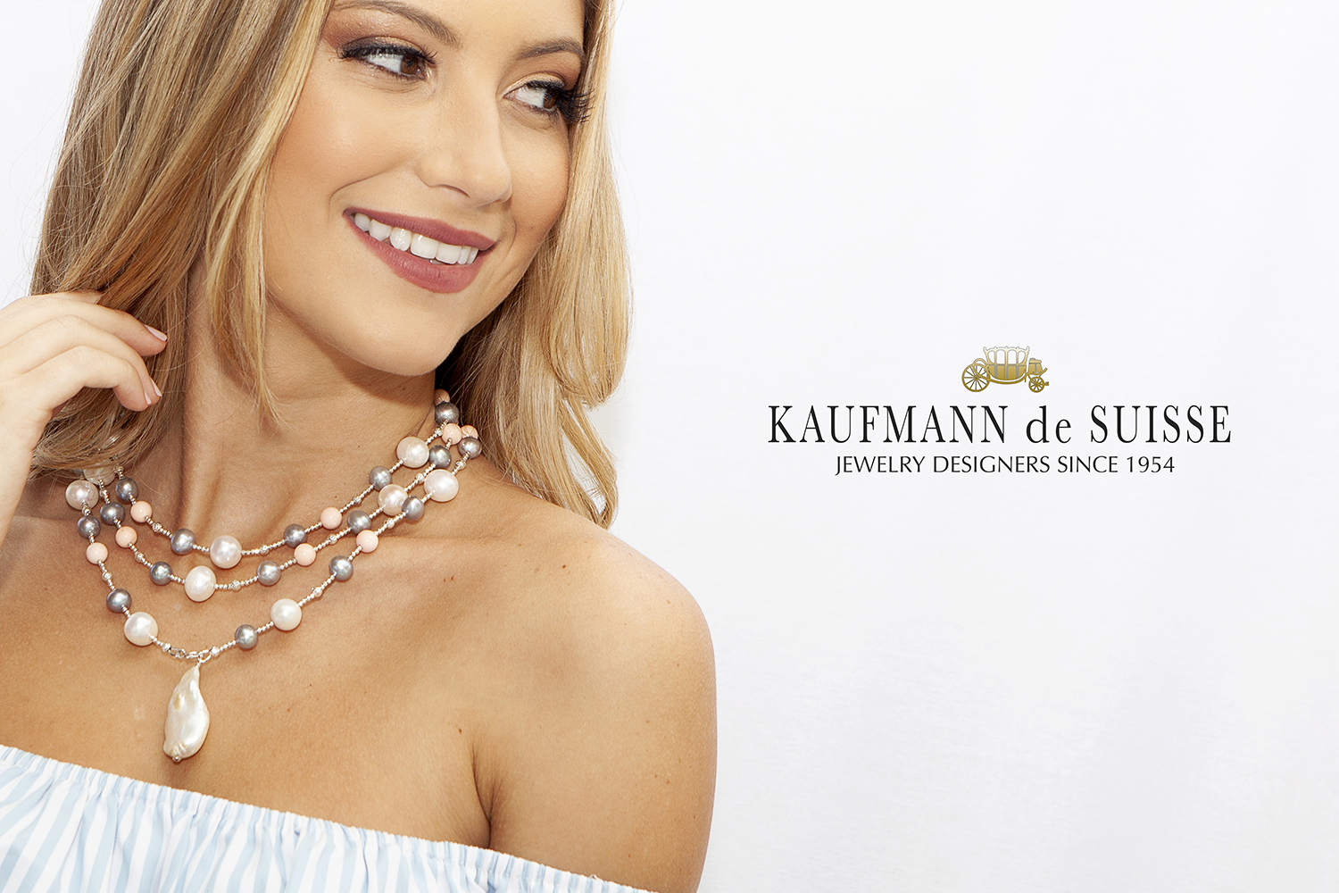 The Palm Beach Lariat in Coral, White and Gray Pearls