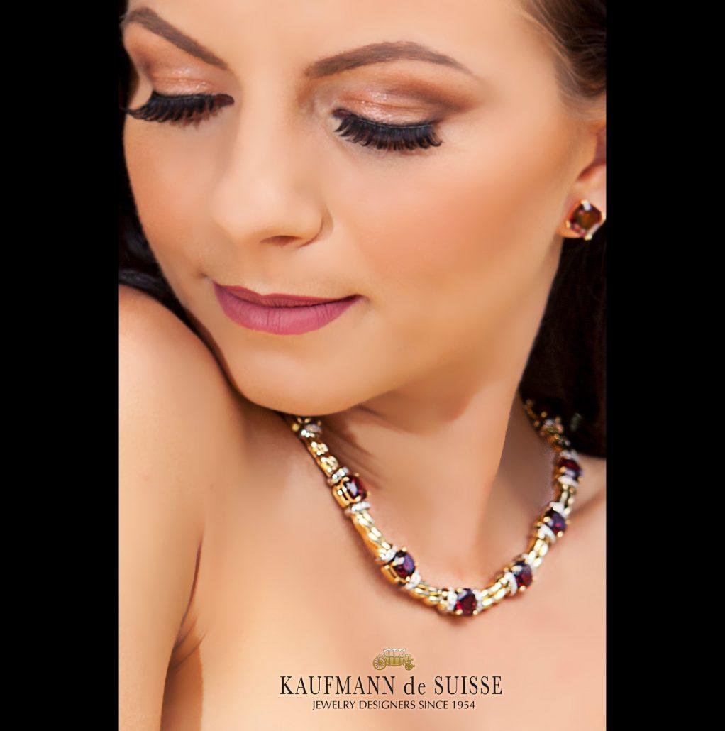 18K Garnet and Diamond Necklace