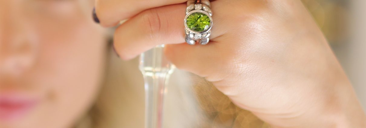 Flowing Lines Peridot and Silver Ring