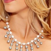 The Open Fan Necklace with Gray and White Freshwater Pearls