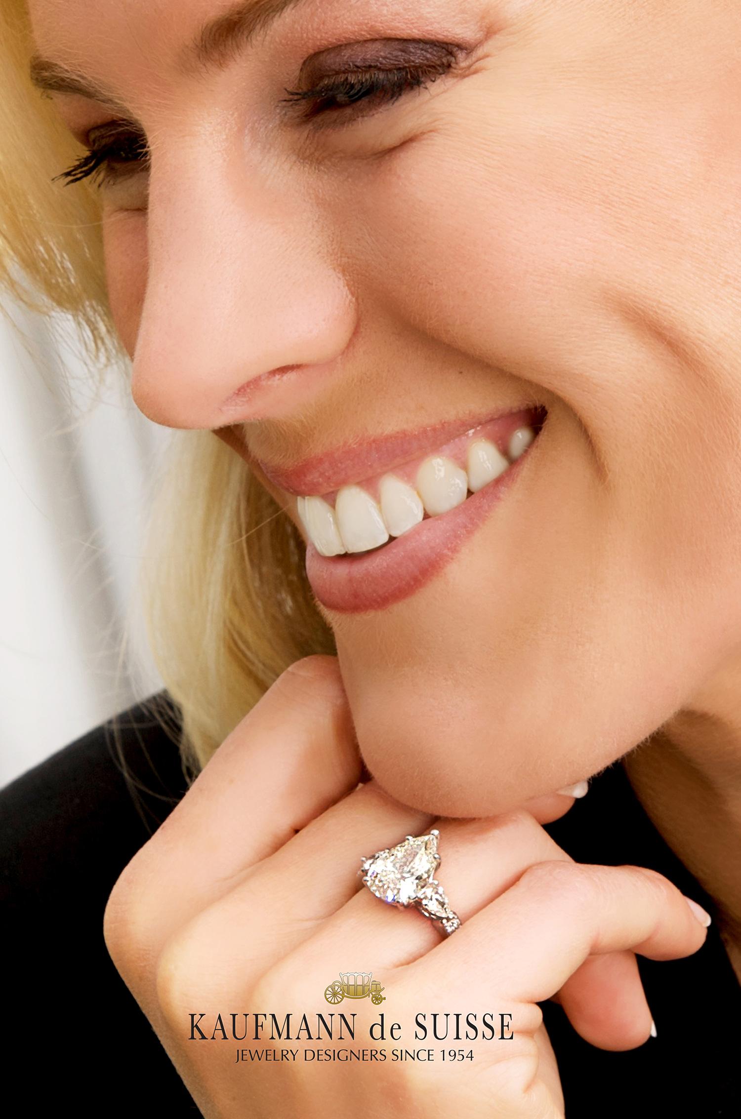 A Precious Pear Shaped Diamond Engagement Ring