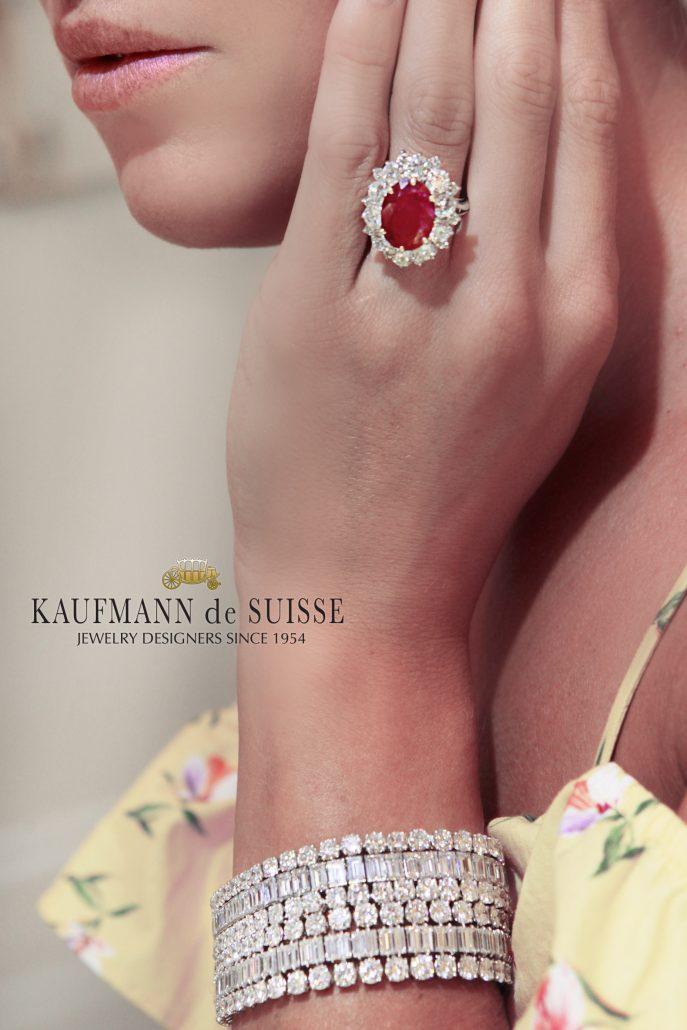 Ruby and Diamond Ring with Diamond Bracelet