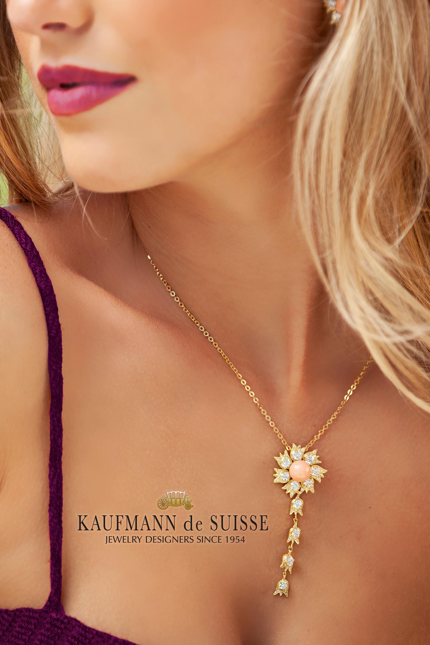 Elegant Coral and Diamond Pendant Necklace