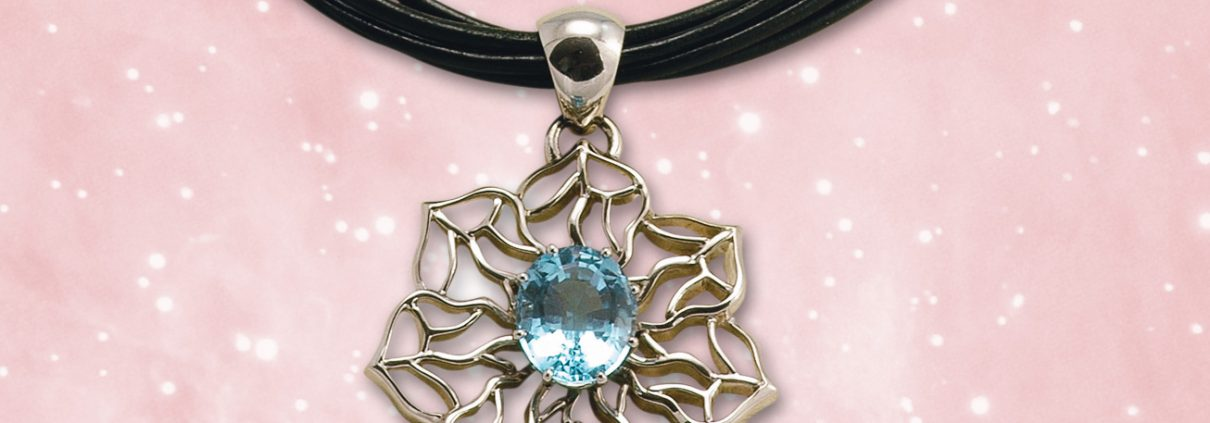 Open Flowing Lines Blue Topaz Necklace