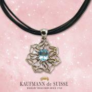 Open Flowing Lines Blue Topaz Necklace