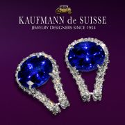 18K White Diamond and Sapphire Earrings