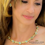 Flowing Lines Aquamarine and Gold Necklace