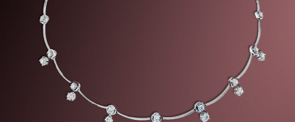 18K White Gold Cascade Diamond Necklace