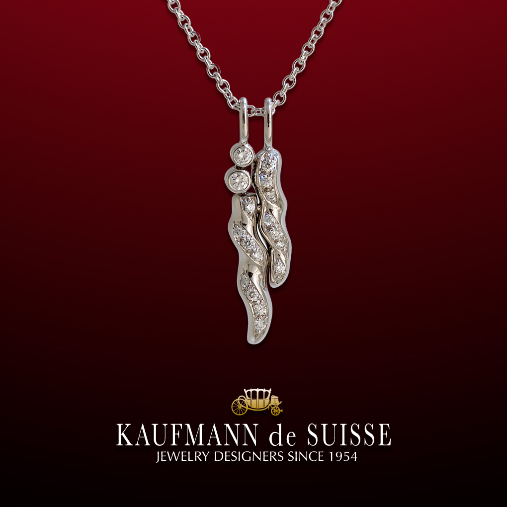 18K White Gold and Diamond Pendant