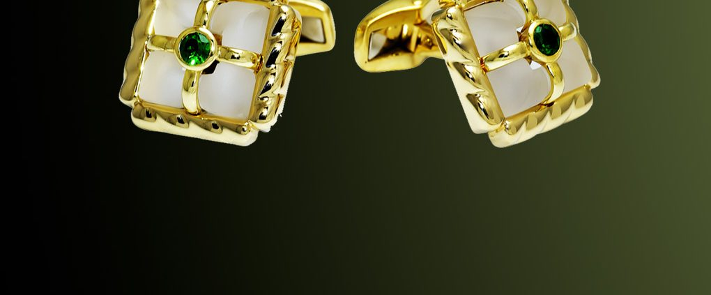 18K Gold & Emerald Cufflinks