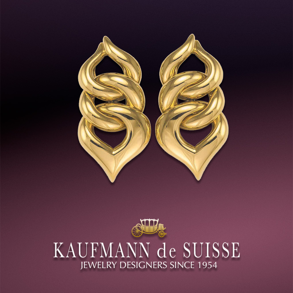 18K Yellow Gold Handmade Earrings