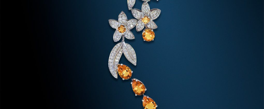 Jasmine Citrine and Diamond Necklace