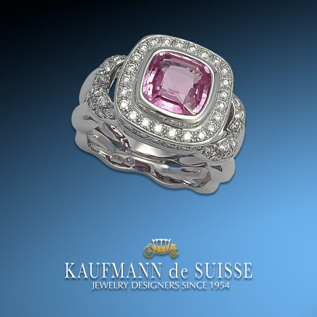 18K White Gold Flowing Lines Pink Sapphire and Diamond Ring