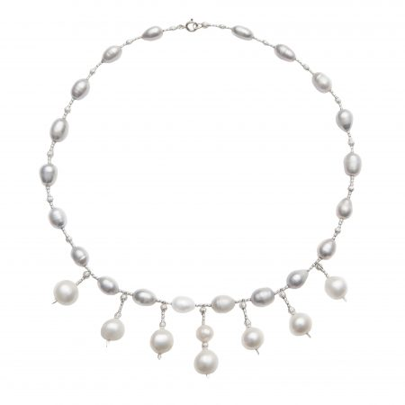 Grey Freshwater Pearl Necklace with 6 White Pearl Drops