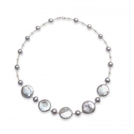 Grey Pearl Necklace with 5 Coin Pearls