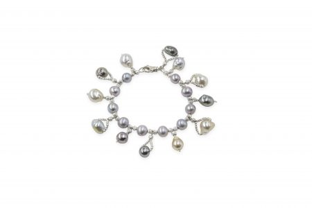 Grey Freshwater Pearl Bracelet With Multicolored South Sea Pearl Drops