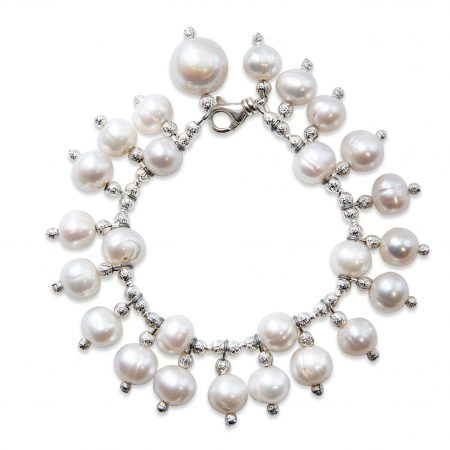 Freshwater White Pearl Bracelet With Pearl Drops