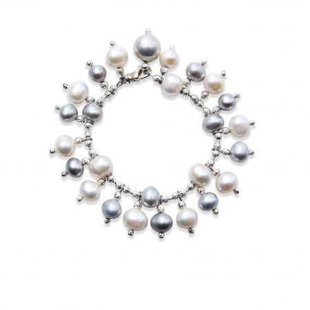 Freshwater Grey & White Pearl Ladder Bracelet