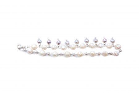 Grey & White Pearl Wrap Bracelet