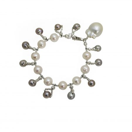 Freshwater Grey & White Pearl Dangle Bracelet with Baroque Drop